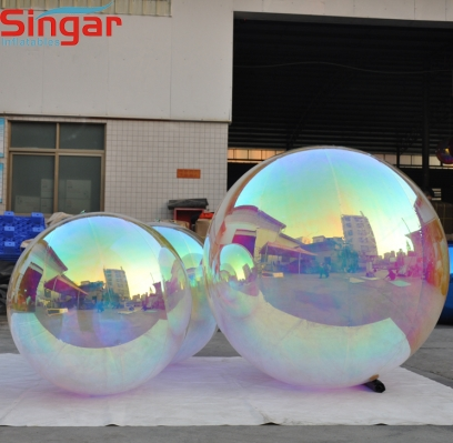Inflatable transluent mirror refective ball