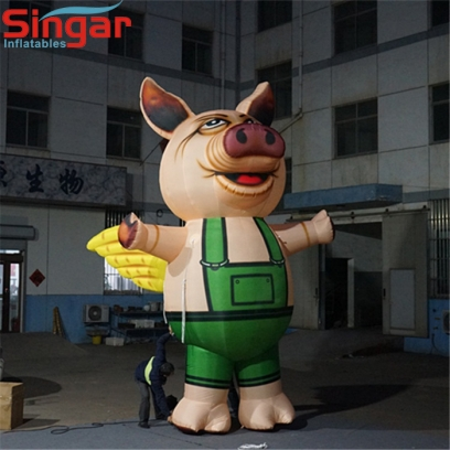 Cute 5m inflatable pig animal with wings