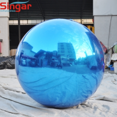 2m(6.6ft) giant inflatable blue mirror ball for stage decor