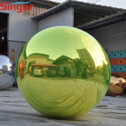Inflatable stage decorative green mirror sphere ball
