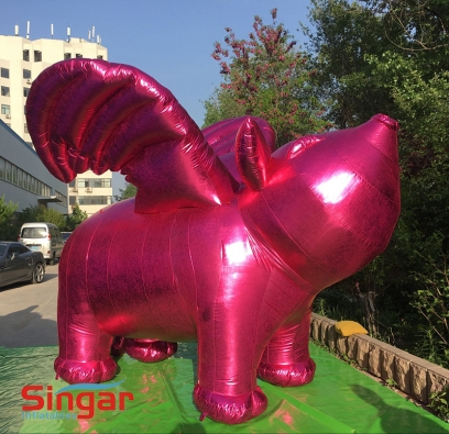 Giant 3m inflatable fly pink pig,pink pig with wings