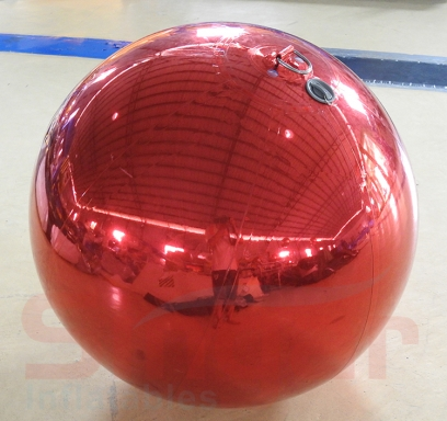 Inflatable stage red mirror sphere