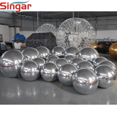 Top quality inflatable silver mirror sphere for hanging