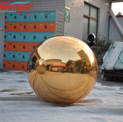 Inflatable party gold mirror sphere