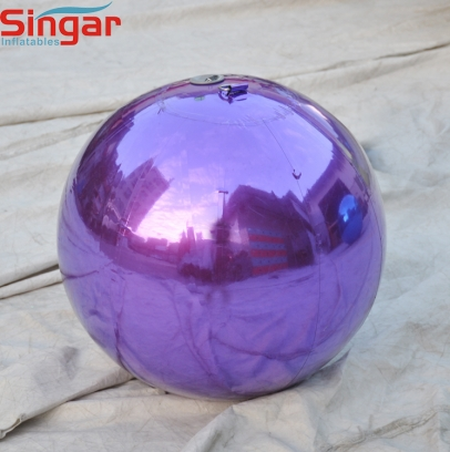 Inflatable purple hanging mirror sphere