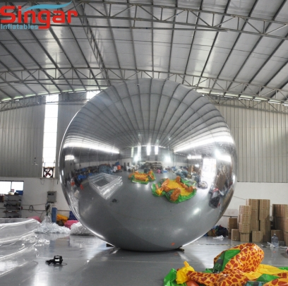 6m(19.6ft) giant inflatable pvc silver mirror sphere