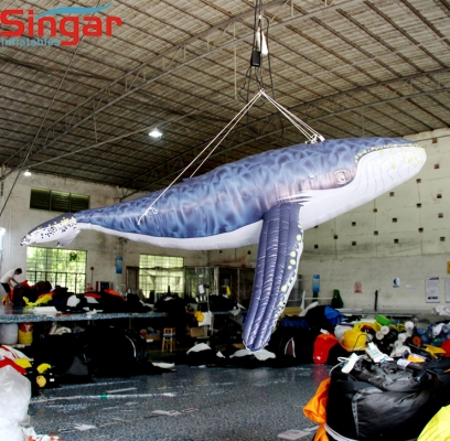 4m(13ft) inflatable whale for ocean theme party