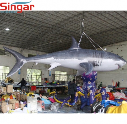 Giant inflatable shark for holiday decoration