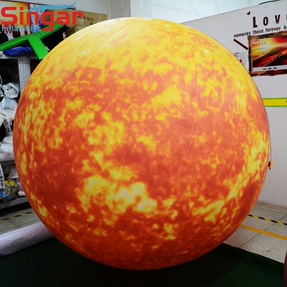 PVC inflatable lighting sun balloon for ceiling decoration
