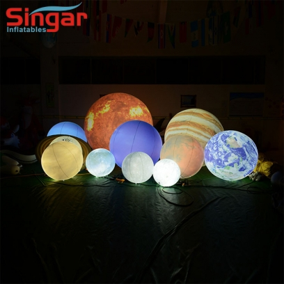 Whole set inflatable solar system planets balloons with lighting