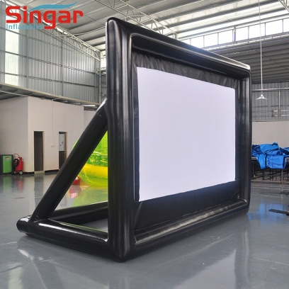 Airtight inflatable movie screen for outdoor parties