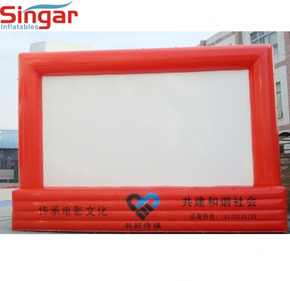 Mobile inflatable giant movie screen for outdoor event