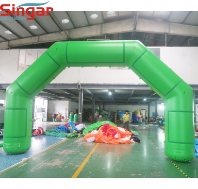 6.5m green inflatable arch with velcros for removable logos