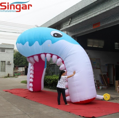 5m giant promotion inflatable shark mouth archway,inflatable shark arches