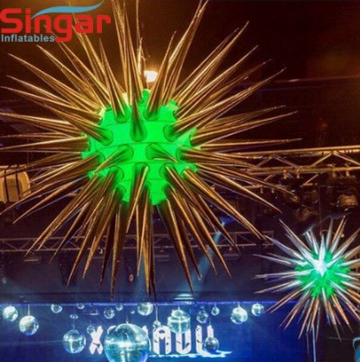 Giant shinning silver coated inflatable stage decoration stars with lighting