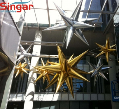 Hot sale inflatable party gold stars,musical silver stars