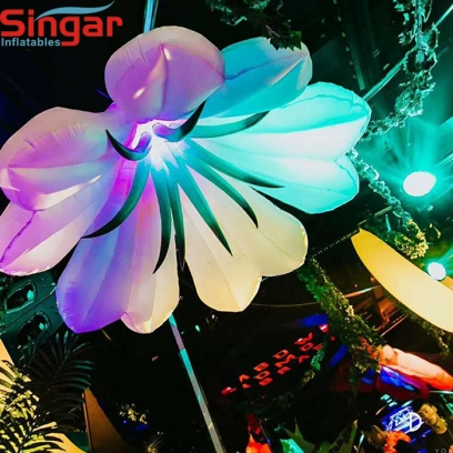 2m(6.6ft) inflatable hanging flower with LED