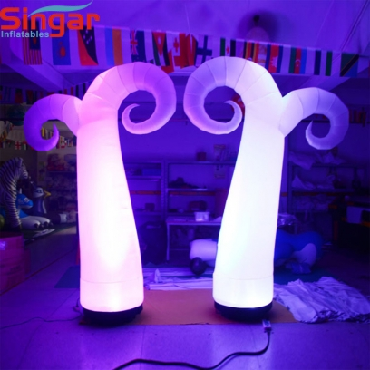 Indoor party inflatable lighted curve horn decorations
