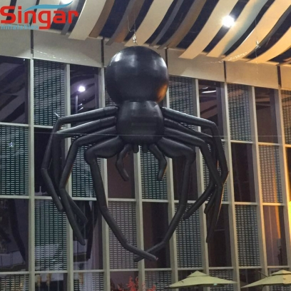 Indoor and outdoor ceiling decorative inflatable hanging black halloween spider