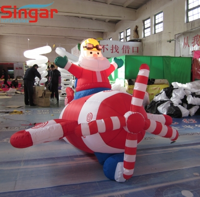 4m(13ft) inflatable santa clau on the plane