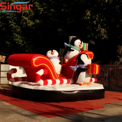 5.5m(18ft) inflatable christmas penguins and sleigh for roof decoration