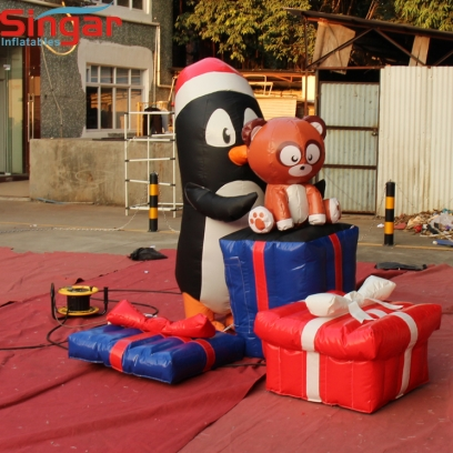 2m(6.5ft) Christmas decoration inflatable penguin and gift boxes