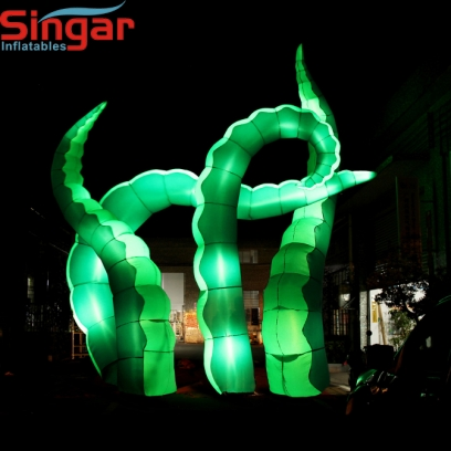6m(19.7ft) giant inflatable green lighting octopus tentacles for building decoration