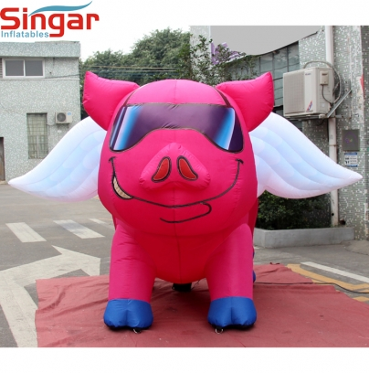 2m(6.5ft) inflatable pink pig with white wings,air blow fly pig